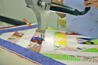 Customer on longarm, close up