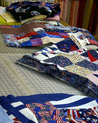 Quilts to be donated, in progress